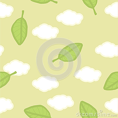 Seamless vector pattern. Summer clouds and leaves