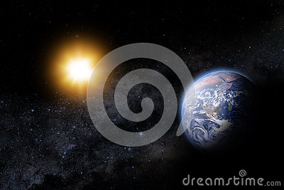 Illustration of the Sun and earth in space. Milky way as a backd