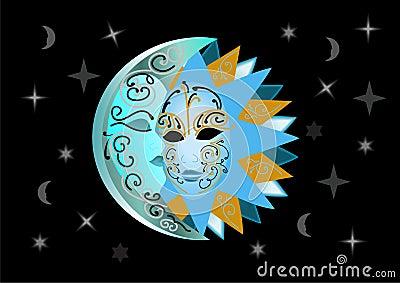 Illustration of sun and moon