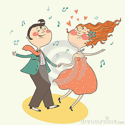 Illustration of swing dancing couple