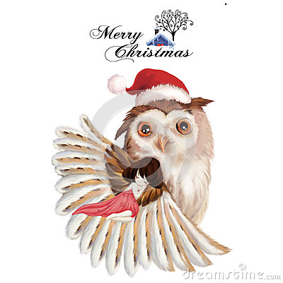 Free Illustration: The Girl And The Owl - Merry Christmas Card. Royalty Free Stock Photography - 63093547