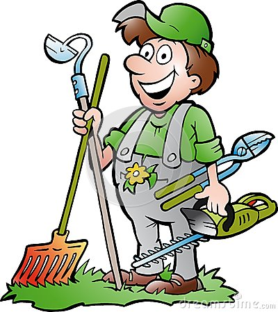 Illustration tirée par la main de vecteur d un jardinier heureux