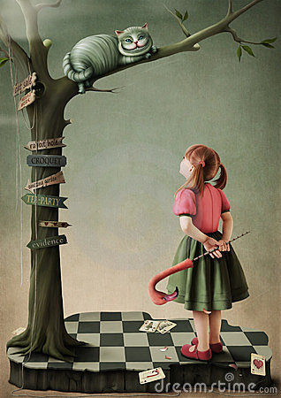 Illustration to the fairy tale Alice in Wonderland Stock Photo