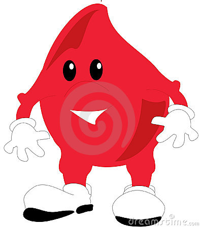 An illustration of a toon blood drop