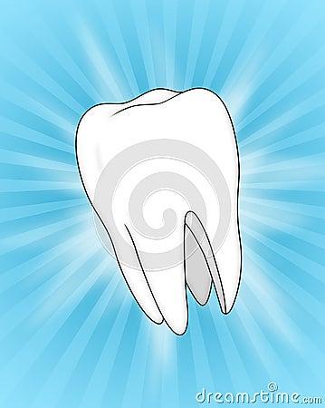 Illustration of a Tooth, on a Blue Slash Backgrou