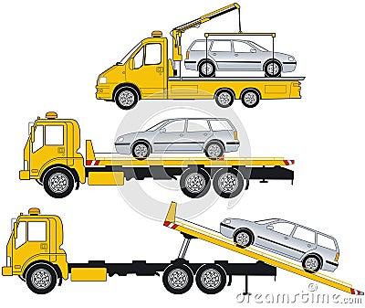 Illustration of tow trucks