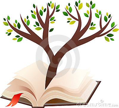 Illustration of tree growing in open book