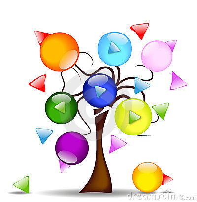 Illustration with tree and multi-directional butto