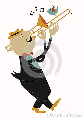 Illustration of trombonist in cartoon style