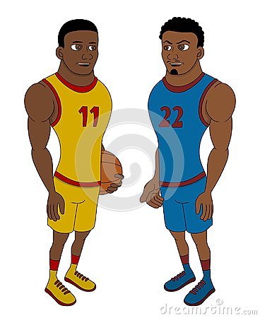 Cartoon of two basketball players