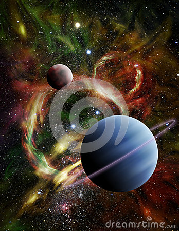 Illustration of Two Alien Planets in Deep Space