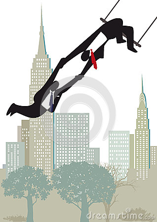 Businessmen on highwire trapeze