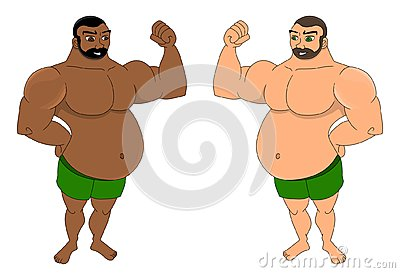 Fat men flexing their muscles cartoon