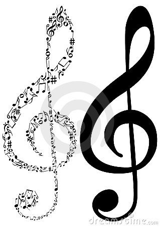 Illustration of two G clef and music notes