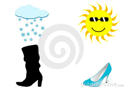 Illustration of two shoes, a rainy and a sunny ski