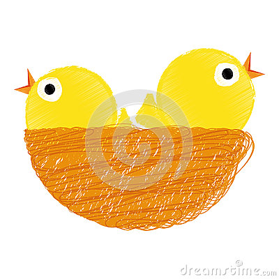 Chicks on nest Vector Illustration