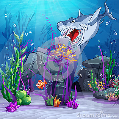 Illustration of the underwater world and the evil shark