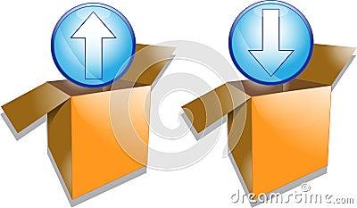 Illustration of upload and download symbols