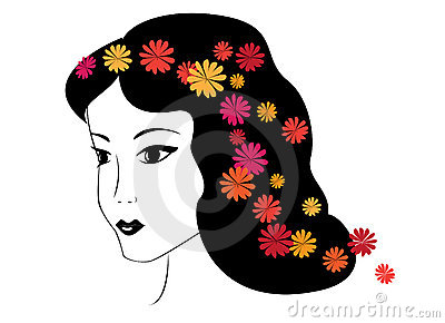 Illustration - vector brunette girl with flowers