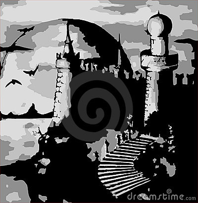 Illustration - vector old dark castle