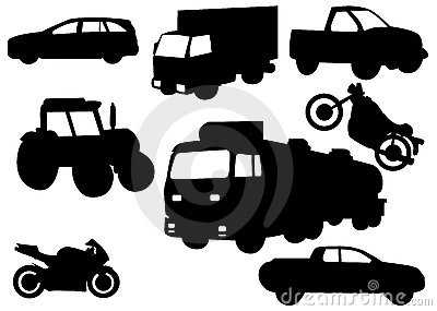 Illustration vector of vehicle silhouettes
