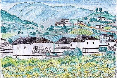 Illustration Village field