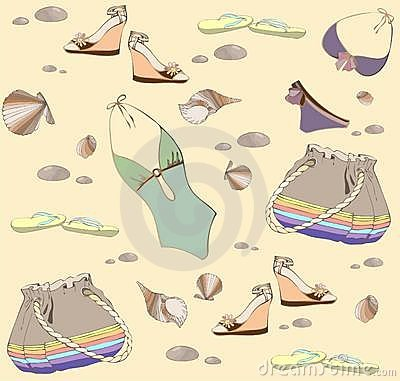 Illustration of vintage bathing suit, bag, summer