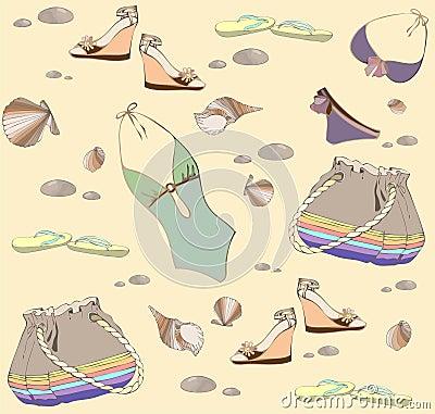 Illustration of vintage bathing suit, bag, summer