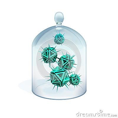 Illustration of a viruses treats in quarantine