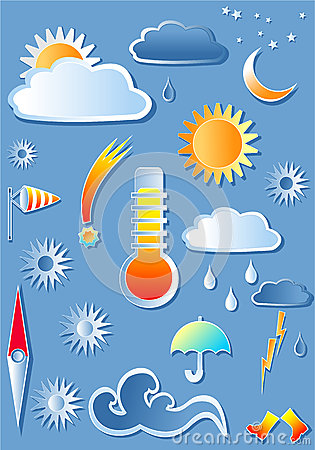 Illustration with weather icons