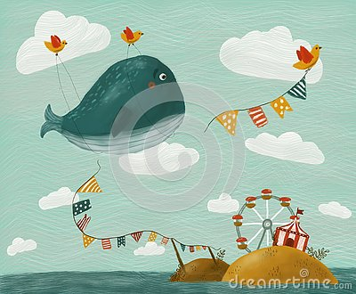 Illustration with whale Stock Photo
