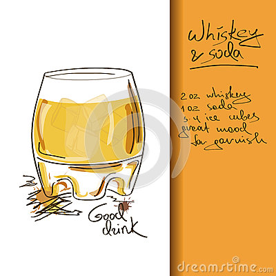 Illustration with Whiskey and Soda cocktail