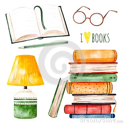 Free Illustration With A Huge Pile Of Books,lamp,open Book,pencil And Glasses Stock Photos - 110518323