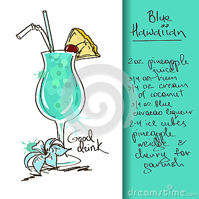 Free Illustration With Blue Hawaiian Cocktail Stock Images - 34386924