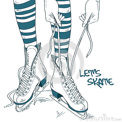 Free Illustration With Female Legs In Skates Stock Photography - 35122872