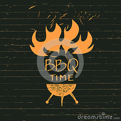 Free Illustration With Sparks Of Fire For BBQ Time.  Print Restaurant Royalty Free Stock Image - 68570206