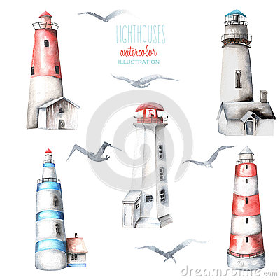 Free Illustration With Watercolor Lighthouses And Seagulls Stock Photo - 83087540