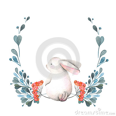 Free Illustration, Wreath With Watercolor Rabbit, Green Branches And Red Berries Stock Photography - 80544492