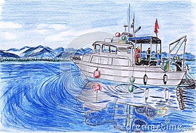 Illustration Yacht fishing