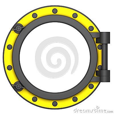 Illustration of a yellow black ship porthole