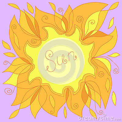 Illustration of a yellow sun with a place for your text