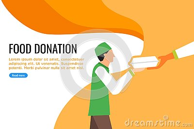 A Young Boy Receiving Food from Nearby Food Donation Vector Illustration