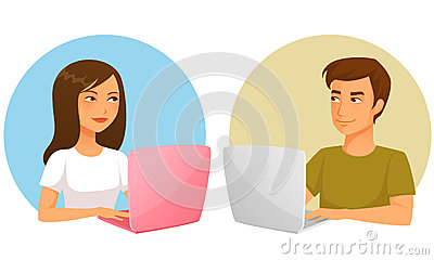 Illustration of young girl and boy with laptop