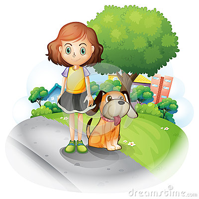 A young girl with a dog along the street
