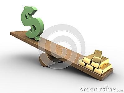 Dollar och guld- seesaw