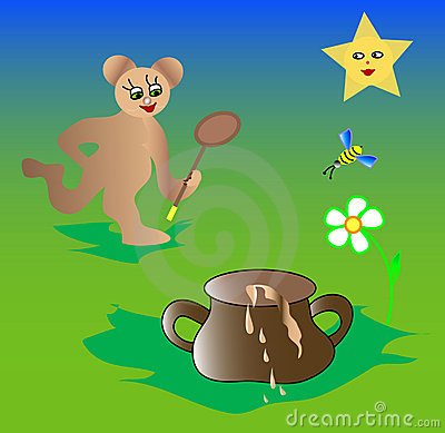 Illustrations Cartoon bear, bee and honey