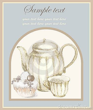 Illustrations of the coffee pot and croissant and