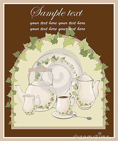 Illustrations coffee pot and teapot and spoon and