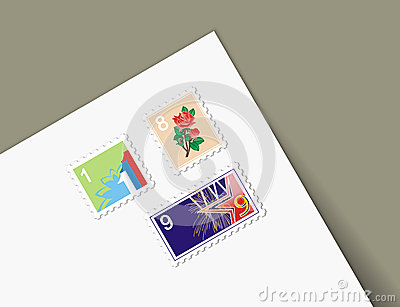Illustrations different stamps letter