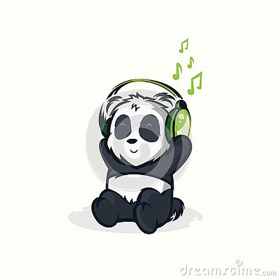 Illustrations of funny pandas listening to music Stock Photo